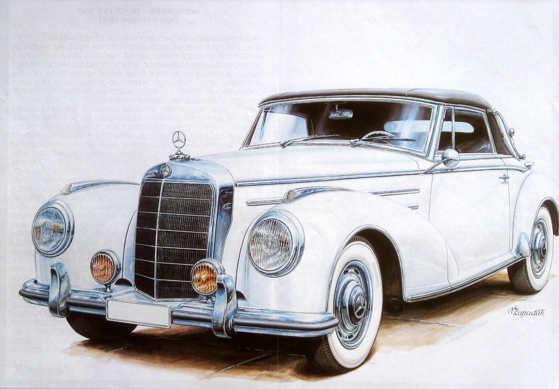 Картинки нарисованные ретро машины
